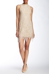 Fire Mock Neck Lace Dress Beige