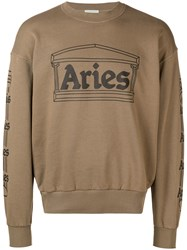 Aries Logo Print Sweatshirt Green