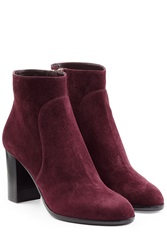 Sergio Rossi Suede Ankle Booties Purple