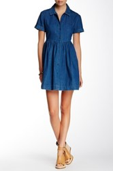 French Connection Light Cushy Denim Fit And Flare Shirtdress Blue