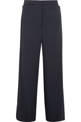 Dion Lee Whitewash Canvas Trimmed Twill Wide Leg Pants Midnight Blue