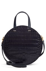 Clare V. V Petit Alistair Croc Embossed Leather Circular Crossbody Bag Black Midnight Croco