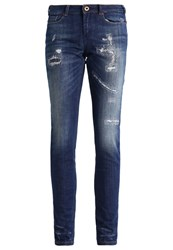 Scotch And Soda La Bohemienne Slim Fit Jeans Aged Turquoise Destroyed Denim