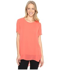 Vince Camuto Short Sleeve Crew Neck Chiffon Overlay Blouse Coral Passion Women's Blouse Red