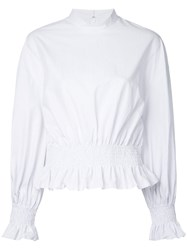 Le Ciel Bleu Striped Puff Blouse White