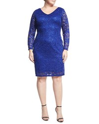 Marina Plus Sequin Embellished Lace Sheath Dress Blue