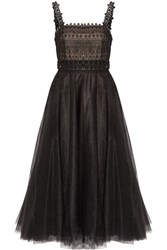 Marchesa Notte Layered Embellished Tulle Midi Dress Black