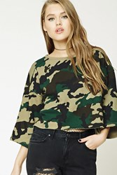 Forever 21 Boxy Camo Print Sweatshirt Hunter Green Multi
