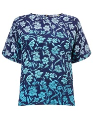 Collection Weekend By John Lewis Ombre Floral Shell Top Blue