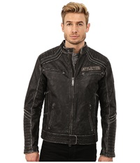 Affliction Renegade Riders Leather Moto Jacket Black Vintage Wash Men's Coat