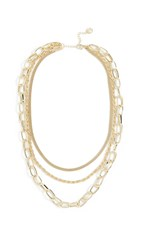 Jules Smith Designs Triple Layered Chain Necklace Gold
