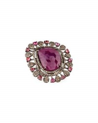 Bavna Composite Ruby Pink Tourmaline And Champagne Diamond Cocktail Ring