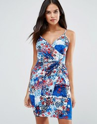 Wal G Printed Bodycon Dress Blue Pr Multi