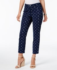 Charter Club Bristol Printed Capri Jeans Only At Macy's Intrepid Blue Anchor Combo