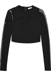 Thierry Mugler Mesh Paneled Stretch Crepe Top