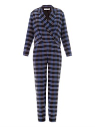 Thakoon Check Print Shirt Tail Jumpsuit
