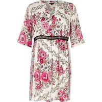 River Island Womens Petite Pink Floral Print Smock Dress