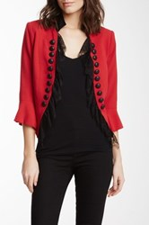 Insight Open Lace Front Crepe Jacket Red