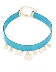Design Lab Lord And Taylor Disc Charm Choker Necklace Blue
