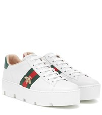 Gucci Ace Platform Leather Sneakers White
