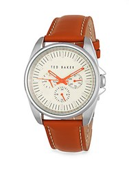Ted Baker Round Leather Strap Watch Red Silver