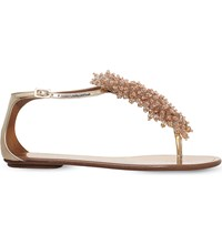 Aquazzura Monaco Embellished Leather Sandals Pale Pink