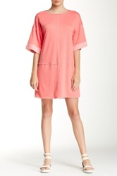 Zoa Drop Shoulder Crew Neck Dress Pink