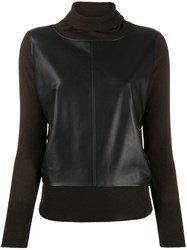 Snobby Sheep Leather Panel Jumper Brown