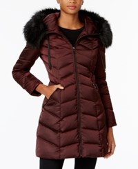 T Tahari Faux Fur Trim Down Puffer Coat Merlot