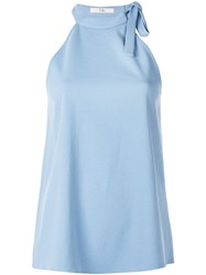 Tibi Chalky Draped Halter Neck Top Blue