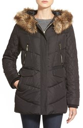 Women's Kensie Faux Fur Trim Hooded Quilted Down And Feather Fill Coat Black