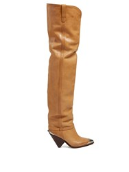 Isabel Marant Lafsten Thigh High Leather Boots Tan