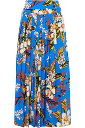 Diane Von Furstenberg Pleated Printed Silk Wrap Maxi Skirt Blue