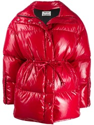 Acne Studios Tie Waist Puffer Jacket Red