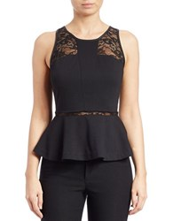 Guess Faux Leather And Lace Trimmed Peplum Top Jet Black