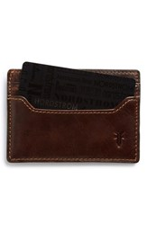 Frye Men's 'Logan' Leather Card Holder Beige Dark Brown