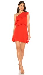 Krisa One Shoulder Ruffle Dress In Red. Samba