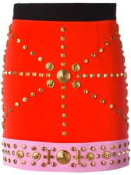 Fausto Puglisi Studded Fitted Skirt Women Silk Acetate Viscose 40 Red