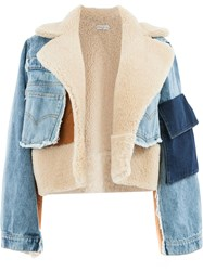 Natasha Zinko Denim Shearling Jacket Blue