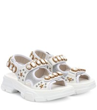 Gucci Embellished Leather And Mesh Sandals White