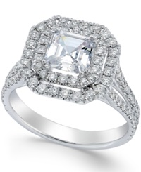 Macy's Certified Diamond Halo Engagement Ring In 14K White Gold 1 1 3 Ct. T.W.