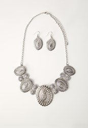 Missguided Statement Necklace And Earring Set Silver Grey