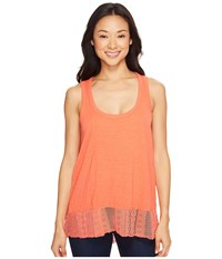 Dylan By True Grit Soft Slub Knit Tank Top With Lace Rib Border Washed Coral Women's Sleeveless Red