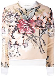 Fendi Layered Floral Top Women Silk Cotton Polyester Metal 38 Nude Neutrals