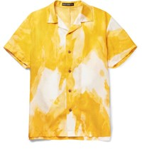 Issey Miyake Men Oversized Camp Collar Printed Voile Shirt Yellow