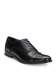Robert Graham Manhattan Leather Cap Toe Oxfords Black