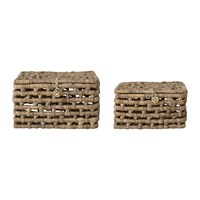 Bloomingville 'Bricks' Lidded Basket Water Hyacinth Set Of 2