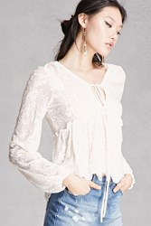 Forever 21 Sheer Lace Peplum Top White