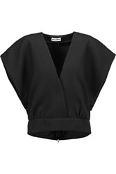 Jil Sander Wrap Effect Wool And Silk Twill Top Black