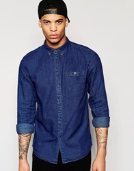 Pull And Bear Pullandbear Denim Shirt In Mid Blue In Regular Fit Dark Blue